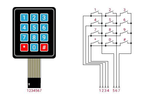 Клавиатура 3х4 матричная для Arduino