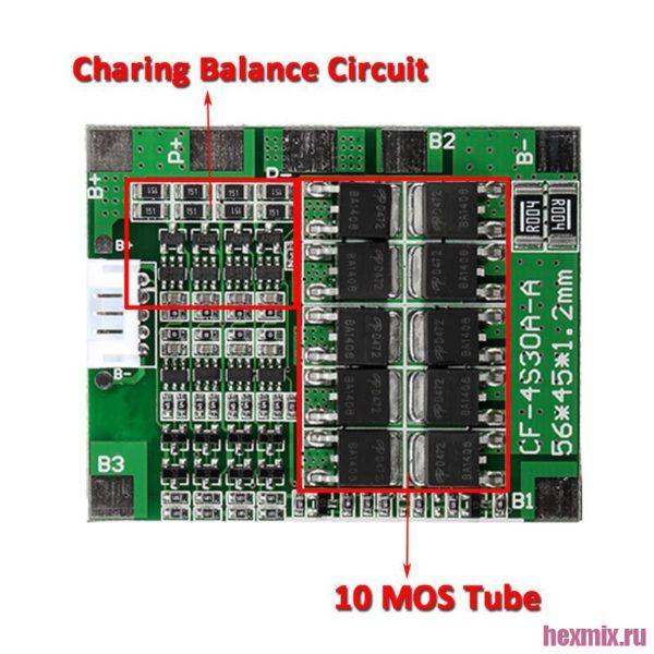 Bms контроллер заряда Li-ion аккумуляторов 30A
