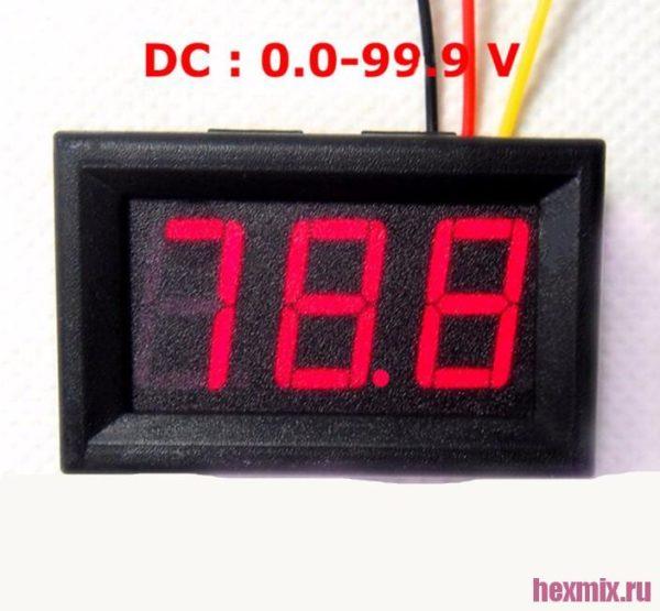 Цифровой вольтметр DC 0-100 V