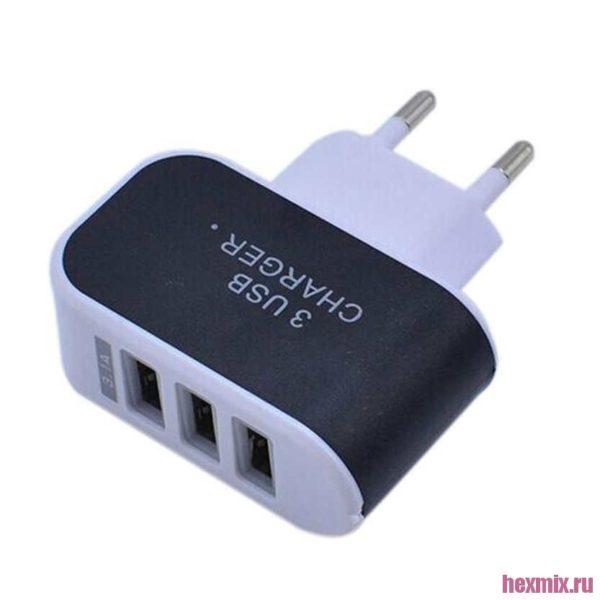 Зарядное устройство на 3 USB порта 5V / 3A (ЕС вилка)