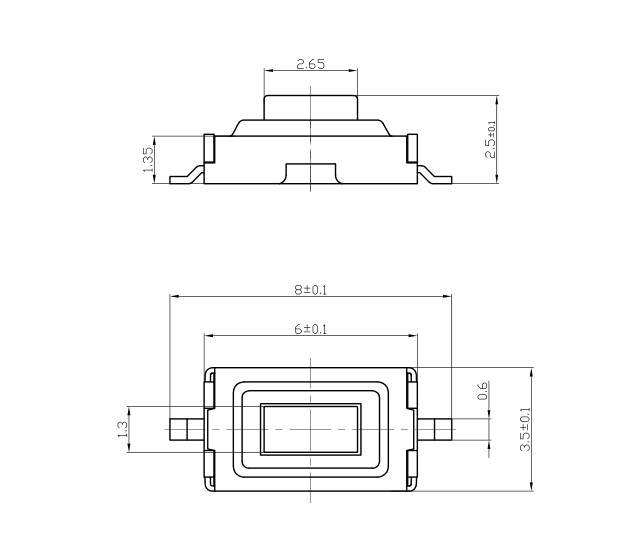 SMT Кнопка 3x6x2.5 2PIN