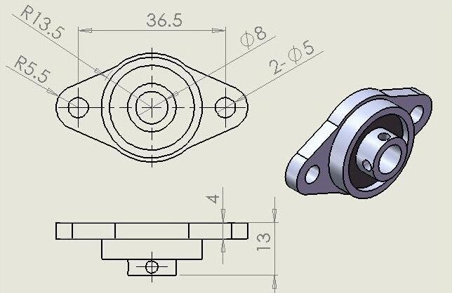 Фланцевый подшипник KFL08 8мм