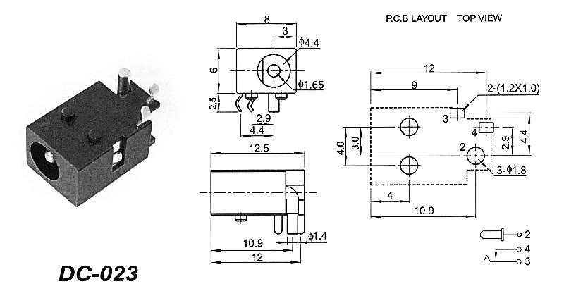Разъем DC-023А 4.0x1.7 мм