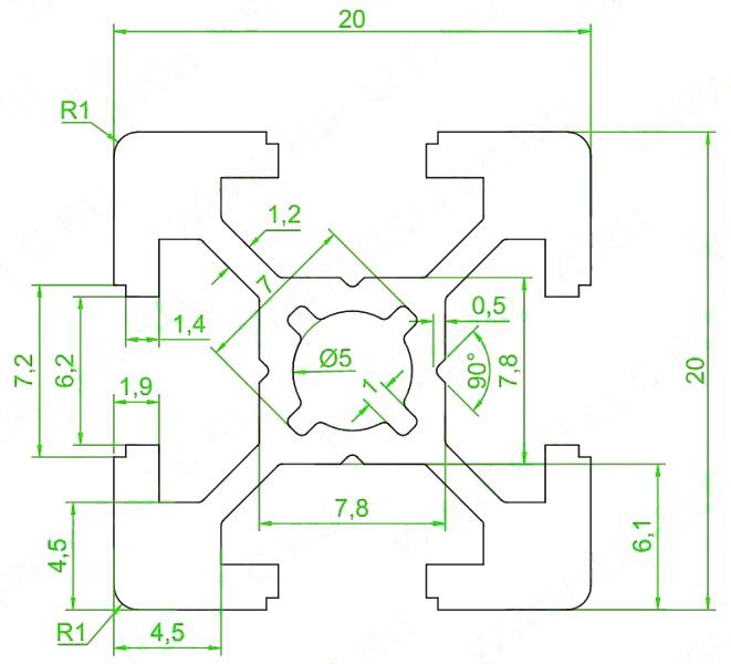 Конструкционный профиль 20х20 мм