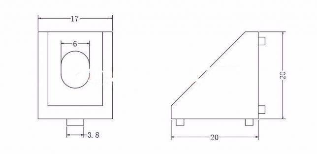 Соединительный уголок дляпрофиля 20х20 мм