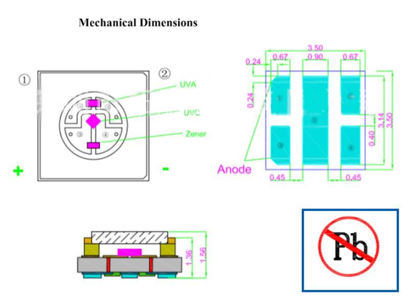 Ультрафиолетовый SMD светодиод UVC UVA  3535