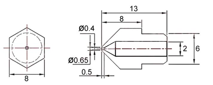 Сопло экструдера MK 0.1-1.0 мм Латунь угол 80 град
