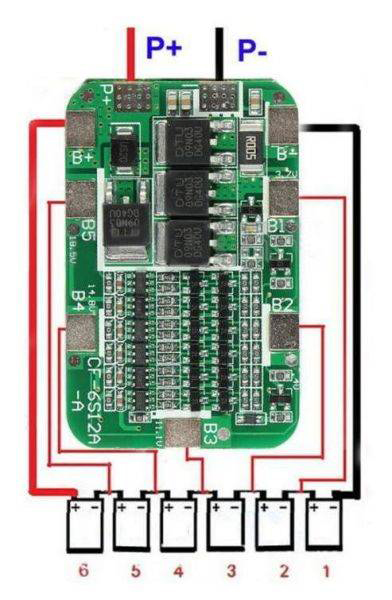 Bms 6S 15A 25В контроллер заряда Li-ion аккумуляторов BW-6S